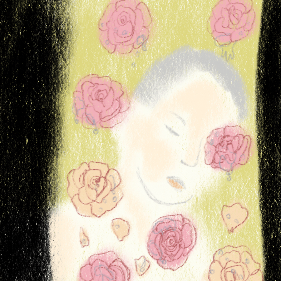 illustration of a person with eyes closed surrounded by flowers