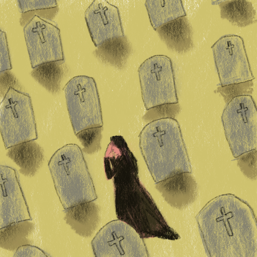 illustration of a woman wearing all black on her knees in grief in the middle of a graveyard