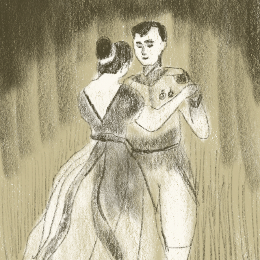 War and Peace main characters Prince Andrey Volkonsky and Princess Natasha Rostova dancing