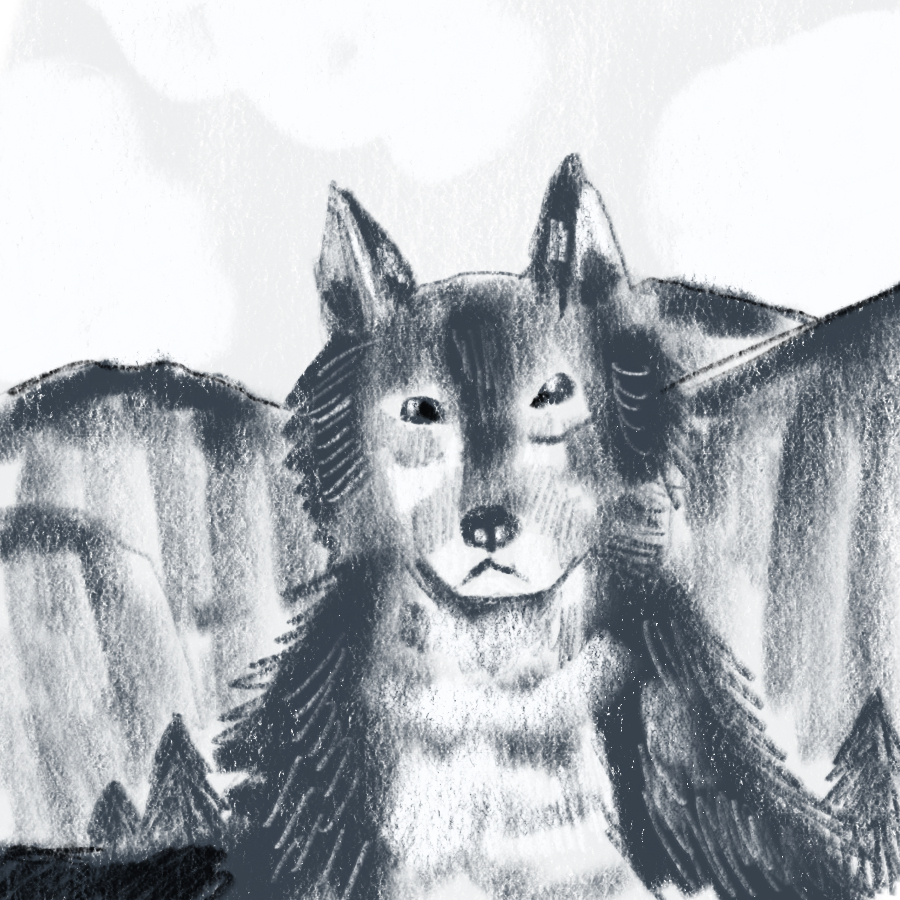 illustrated portrait of a wolf, White Fang, set against a mountain backdrop