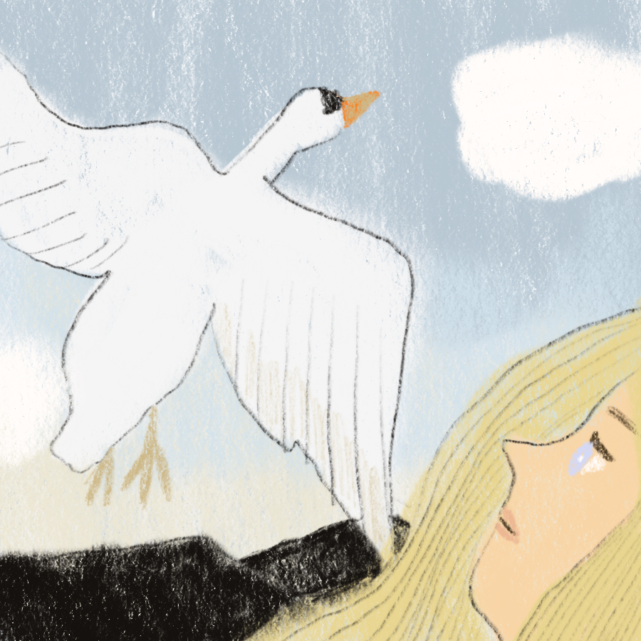 Illustration of a woman laying down, a swan in the air above, and a white cloud