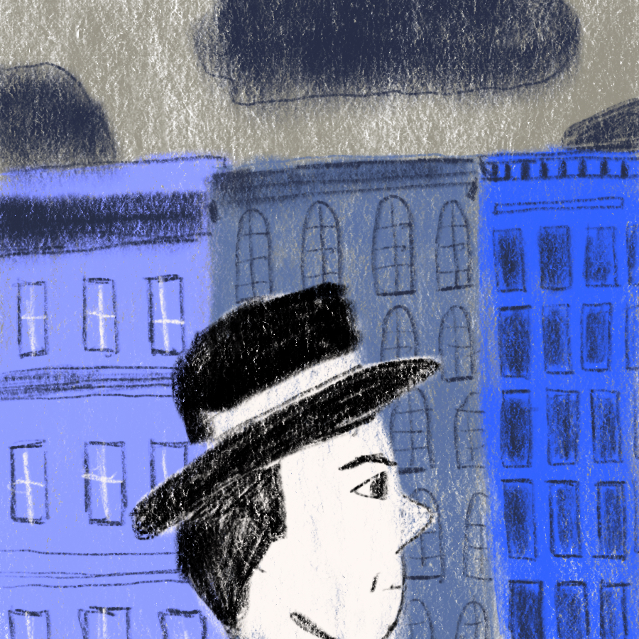 Illustration of George Willard wearing a hat in front of some buildings
