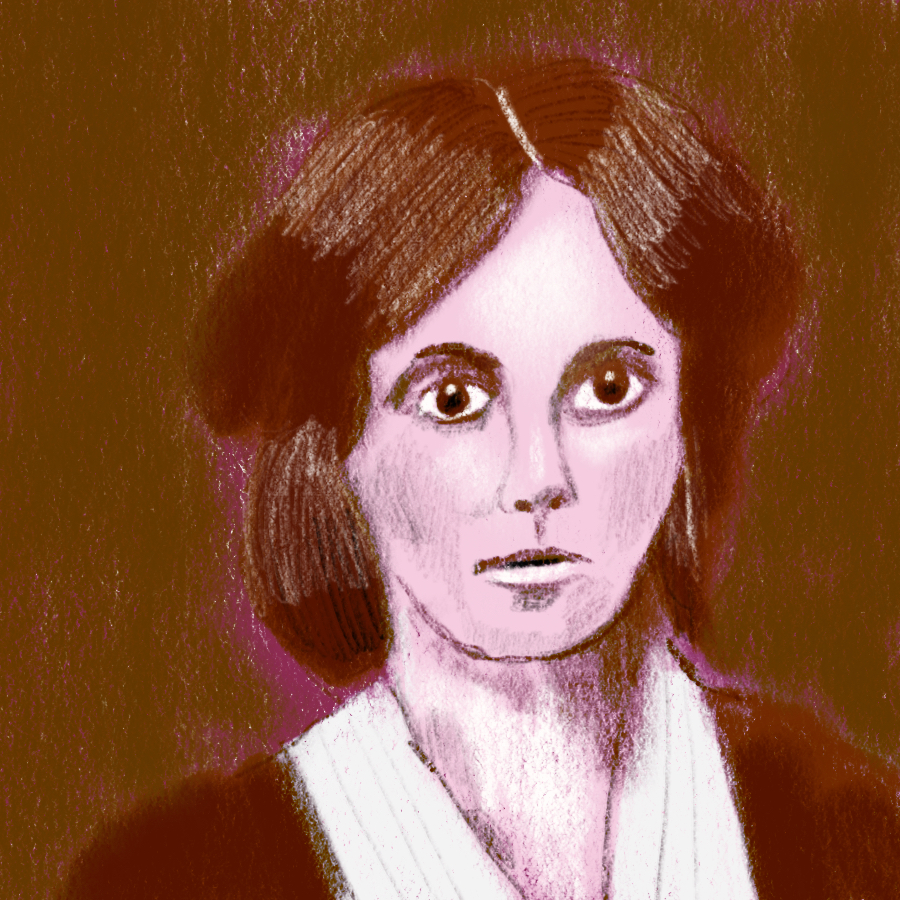 illustrated portrait of American writer Louisa May Alcott