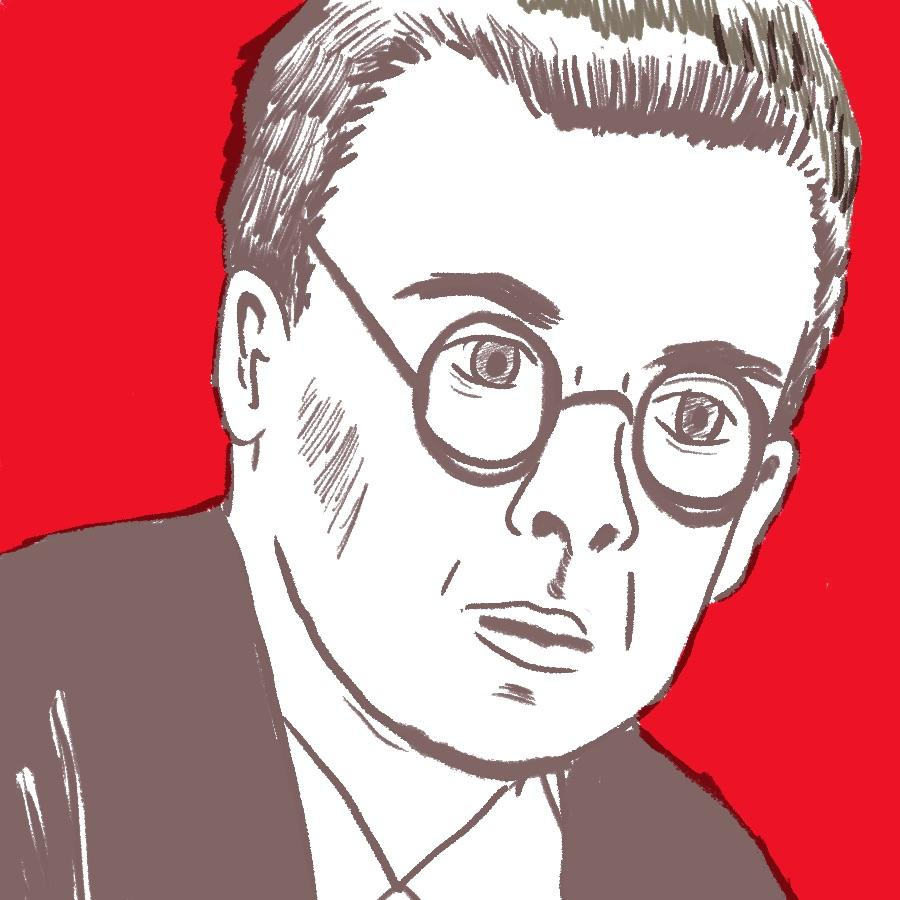 illustrated portrait of English author Aldous Huxley