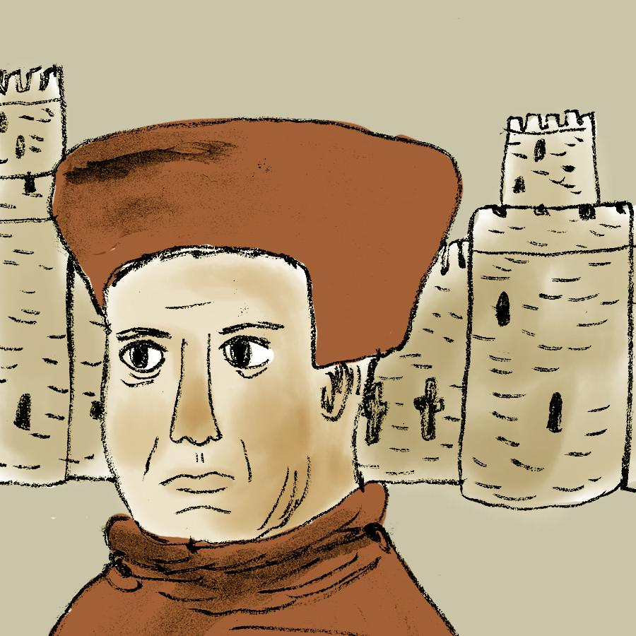 illustration of a clergyman with Canterbury cathedral behind him