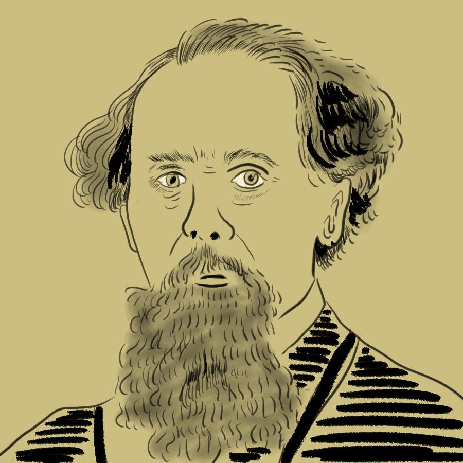 illustrated portrait of English author Charles Dickens