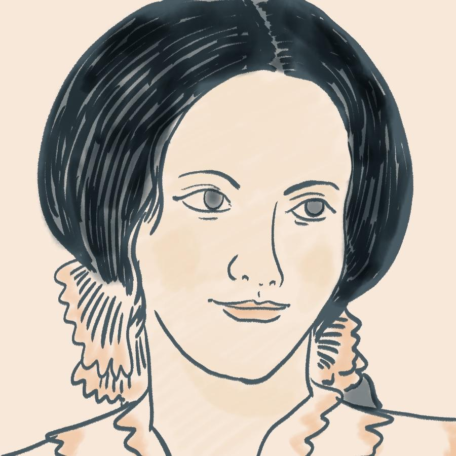 illustrated portrait of English author Charlotte Brontë