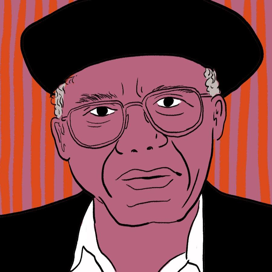 illustrated portrait of Igbo Nigerian author Chinua Achebe