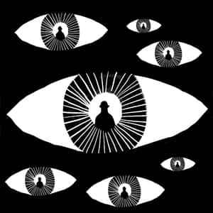 Abstract illustration of seven eyeballs with the silhouette of a man where the pupils should be