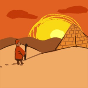 person holding a staff walks through the desert toward a pyramid while the sun shines over hills in the distance
