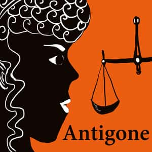 illustrated profile of Antigone staring at the scales of justice