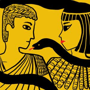 illustration of Antony and Cleopatra facing each other with a snake wrapped around their necks