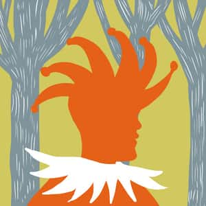 Illustration of Touchstone as an orange figure in full jester gear hanging out in the woods