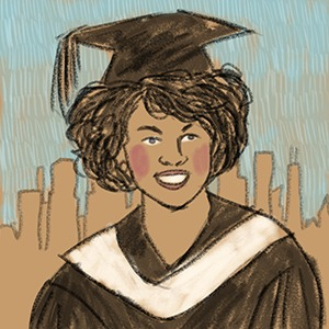 illustrated portrait of African American first lady Michelle Obama
