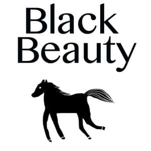 drawing of a black horse against a white background with the title Black Beauty at the top of the image