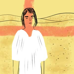 illustration of main character Daniel standing in the desert