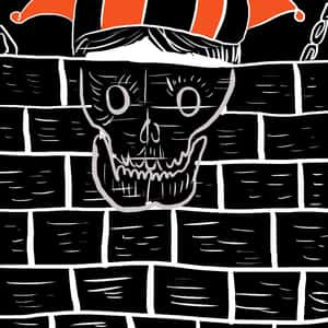 illustration of Fortunato standing in motley behind a mostly completed brick wall with a skull superimposed on the wall where his face should be