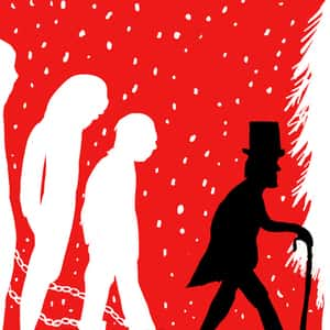 illustration of Ebenezer Scrooge in silhouette walking toward a Christmas tree and followed by the three ghosts