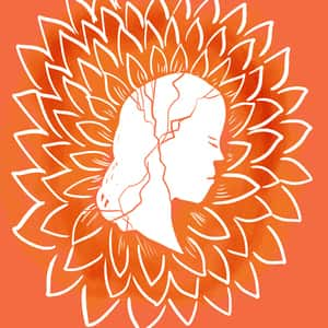 illustrated profile of a woman's head with cracks running through it set against a chrysanthemum background