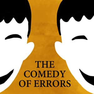 illustration of two halves of a smiling face with the title The Comedy of Errors displayed between them