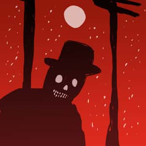 Silhouette of a grinning person wearing a top hat with a skull-like face and a red nighttime sky in the background