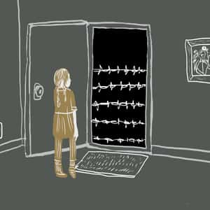 illustration of main character Hannah opening a door which leads to a barbed wire fence