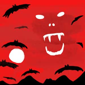 illustration of bats and a fanged face set against a red sky above a forest