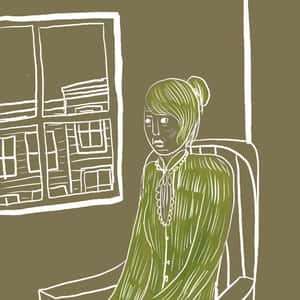 illustration of a woman in green attire sitting in a chair next to a window