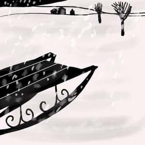 Illustration of an empty sled in the snow