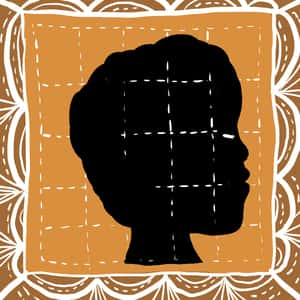 profile silhouette of a woman superimposed upon a quilt
