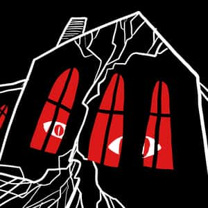 illustration of a dark, menacing cracked house with large, red eyes looking through the windows