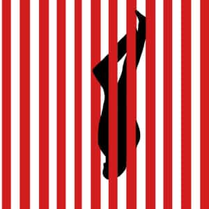inverted silhouette of a man falling between red and white bars