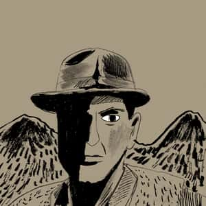 illustration of main character Robert Jordan wearing a fedora, half his face in shadow, and a pair of mountains in the background
