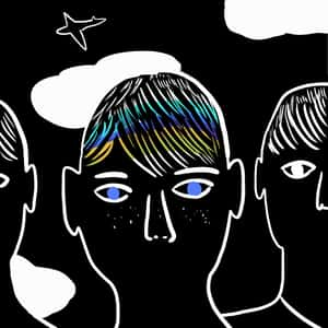 Black, white, and blue illustration of the outline of three heads with whispy hair