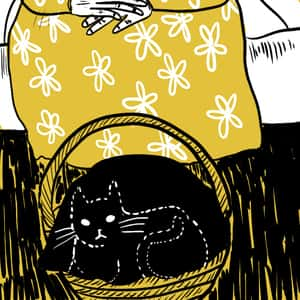 dotted outline of a black cat sitting within a basket in front of an older woman wearing a sundress