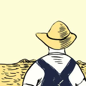 Illustration of the back a man in a hat and overalls looking towards the farmland