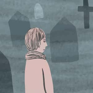 Illustration of Pip visiting a graveyard