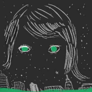 Illustration of a mostly faceless head with eyeballs and hair hovering over some buildings and a starry sky