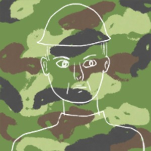 illustration of the outline of a soldier's face set against a backdrop of green camouflage