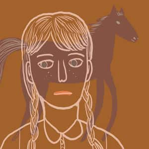 illustration of a girl in braids superimposed upon a horse