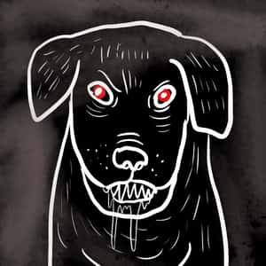 illustrated outline of a large, ferocious-looking dog with red eyes