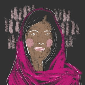 illustrated portrait of Pakistani activist Malala Yousafzai