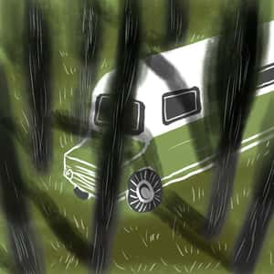 illustration of a bus among the trees in the forest