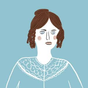 Illustration of a portrait of Jane Eyre