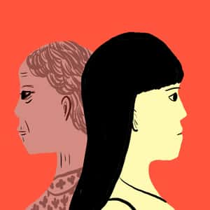 Illustration of the profiles of a young woman and an older woman facting away from each other