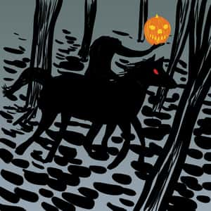 drawing of the headless horseman holding a pumpkin and riding a horse through the woods