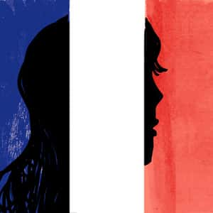 Illustration of the silhouetted profile of a person's face in the French flag