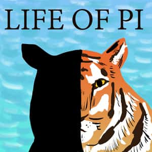 illustrated portrait of a tiger with half its face in shadow and the title Life of Pi above it