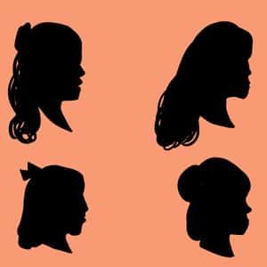 abstract illustration of the four little women as silhouetted profiles