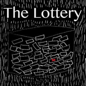 "black box filled with blank tickets except one that is marked with a red letter ""X"" and the title ""The Lottery"" above the box"